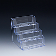 Business cards holder - 3-7/8 W x 3-3/4 H x 3-3/4 D - Clear durable acrylic - Four pockets