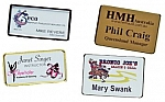 Personalized Name Badges - 1.5 x 3 - With Attached Pin - Gold or Silver Casing - 4 Color Process Print