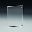 Slanted Sign Holder - Premium - Panels Snap Magnets - 3,5 W x 5 H - Clear durable acrylic