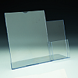 Slanted Sign Holder with pocket - w/ Brochure Pocket 4 x 9 outside right - 8,5 W x 11 H - Clear durable acrylic