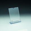 Slanted Sign Holder with pocket - w/ Business Card Pocket 3,5 W in line - 4 W x 6 H - Clear durable acrylic