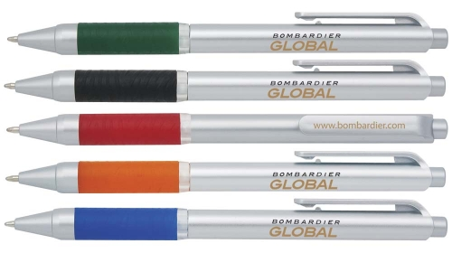 White plastic pen with translucent colored clip