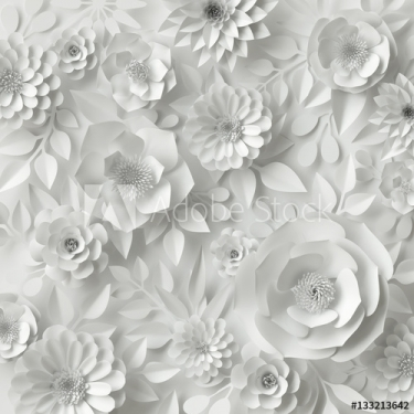 3d render, white paper flowers floral background
