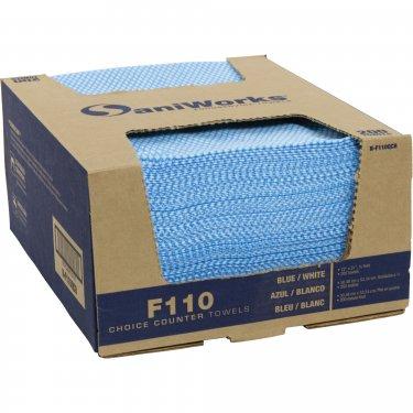 Hospeco - N-F110QCB - SaniWorks® Deluxe Antimicrobial Cloths - 12 x 21 - Blue - Price per box of 200