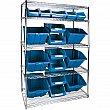 Kleton - RL835 - Heavy-Duty Wire Shelving Units with Storage Bins - Blue Bins - 48 x 24 x 74 - Unit Price
