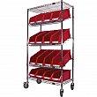 Kleton - RN604 - Slanted Wire Shelf Cart with Bins - 4 Shelfs with red bins - 36 x 18 x 69 - Unit Price