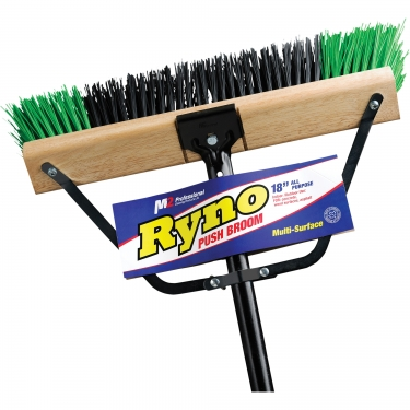 M2 Professional - PB-700-GB18 - Heavy-Duty Ryno Push Broom with Braced Handle - Coarse - 18 - Green & Black - Unit Price