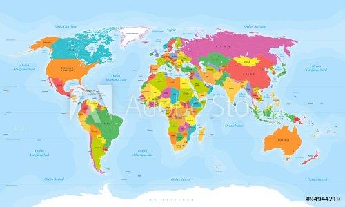 Planisphère MappeMonde - Texte en français - Vectoriel