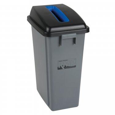 "RMP - JL263 - Recycling & Garbage Bin with Classification Lid - 12-1/2"" W x 17-1/4"" D x 26-3/4"" H - 16 gal. US - Gray / Blue - Unit Price"