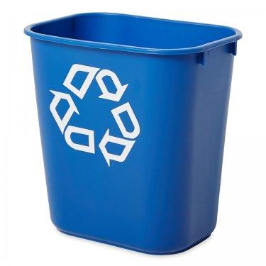 Rubbermaid - FG295573BLUE - Recycling Container - Deskside - 13-5/8 US Qt. - 11.375 x 8.25 x 12.125 - Blue - Unit Price