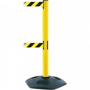 Tensator - 886T235MAXNOD4XC - Dual Line Heavy Duty Post  - Plastic - Yellow - Tape: Black/Yellow 13' Blank - Height: 38 - Unit Price