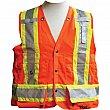 Viking - 6195O-XL - Surveyor Safety Vest - Polyester - High Visibility Orange - Stripe: Yellow/Silver - X-Large - Unit Price
