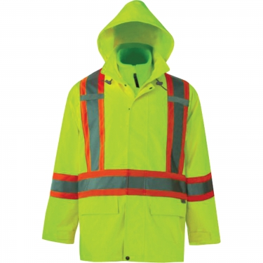 Viking - 6400JG-L - Journeyman 3-in-1 Safety Jackets - Polyester - High Visibility Lime-Yellow - Stripe: Yellow/Silver - Large - Unit Price