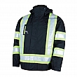 Work King Safety - S42611-BLACK-XS - 5-in-1 Safety Jacket - Polyester/Polyurethane - Black - Stripe: Yellow/Silver - X-Small - Unit Price