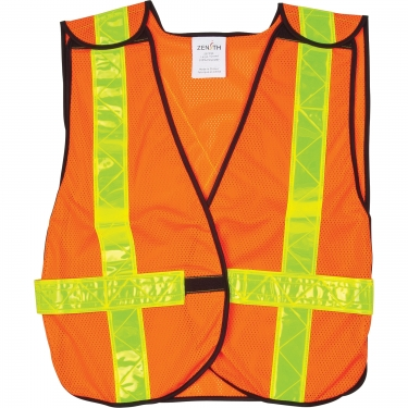 Zenith Safety Products - SEF093 - Traffic Vest  - Polyester - High Visibility Orange - Stripe: Yellow - Medium - Unit Price