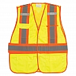 Zenith Safety Products - SGF141 - Flame-Resistant Surveyor Vest - Polyester - High Visibility Lime-Yellow - Stripe: Orange/Silver - Large - Unit Price