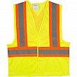 Zenith Safety Products - SGI277 - Traffic Safety Vest - Polyester - High Visibility Lime-Yellow - Stripe: Orange/Silver - Medium - Unit Price