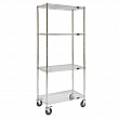 Kleton - MJ527 - Wire Shelf Cart  - Chrome Plated - 4 Shelves - Capacity 800 lb - 18 x 36 x 80 - Unit Price