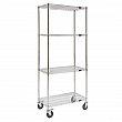 Kleton - MJ528 - Wire Shelf Cart  - Chrome Plated - 4 Shelves - Capacity 800 lb - 18 x 48 x 80 - Unit Price
