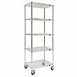 Kleton - MJ537 - Wire Shelf Cart  - Chrome Plated - 5 Shelves - Capacity 800 lb - 24 x 48 x 92 - Unit Price