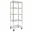 Kleton - MJ538 - Wire Shelf Cart  - Chrome Plated - 5 Shelves - Capacity 800 lb - 24 x 60 x 92 - Unit Price