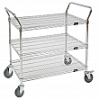 Kleton - MJ544 - Wire Mesh Utility Cart  - Chrome Plated - 3 Shelves - Capacity 800 lb - 24 x 48 x 45 - Unit Price