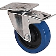 Kleton - ML345 - Blue Caster - Rubber - Swivel with Brake - Capacity 400 lbs. (181 kg.) - Black - 5 (127 mm) - Unit Price