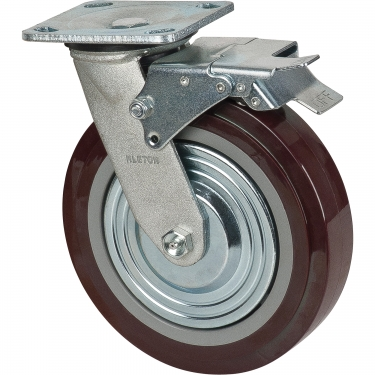 Kleton - MN267 - Caster - Polyurethane - Swivel with Brake - Capacity 1000 lbs. (454 kg.) - Brown - 8 (203 mm) - Unit Price