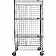 Kleton - RN563 - Enclosed Wire Shelf Cart - Chrome Plated - 4 Shelves - Capacity 800 lb - 24 x 48 x 69 - Unit Price