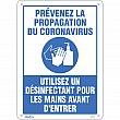Zenith Safety Products - SGU361 - Prévenez le Coronavirus, utilisez un désinfectant pour les mains Sign Each