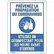 Zenith Safety Products - SGU362 - Prévenez le Coronavirus, utilisez un désinfectant pour les mains Sign Each
