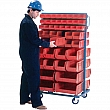 KLETON - CB090 - Mobile Bin Racks - Double Sided - Rack & Bin Combination - 36 x 24 x 63 - 96 Red Bins - Unit Price