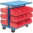 KLETON - CB367 - Bin Carts - Cart & Bin Combination - 24 x 38-1/2 x 36-1/2 - 20 Red Bins - Unit Price
