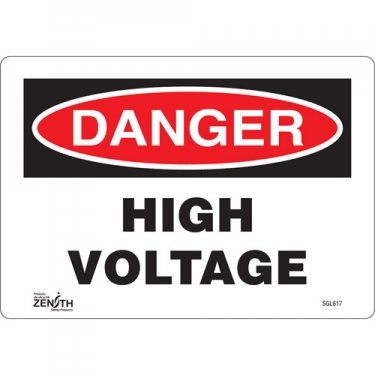 Zenith Safety Products - SGL617 - High Voltage Sign Each