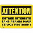 Zenith Safety Products - SGM363 - Entrée Interdite Sans Permis Sign Each