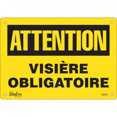 Zenith Safety Products - SGM549 - Visière Obligatoire Sign Each