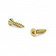 Brass-Plated Wood Screw, Flat Head, Square Drive, Regular Thread, Regular Wood Point